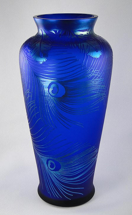 Fenton Art Glass Peacock Feathers Favrene Vase - photo copyright 2012 CollectiblesRome